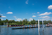"Henley on Thames, United Kingdom, 22nd June 2018, Friday,   ""Henley Women's Regatta"",  view, A Heat of the ""Aspirational Academic 8+', gets underway between  ""Oxford Brookes University [A] L"", and, Bath University R, Henley Reach, River Thames,  Thames Valley, England, © Peter SPURRIER/Alamy Live News"