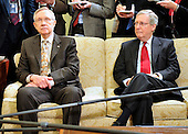 United States Senate Majority Leader Harry Reid (Democrat of Nevada), left, and U.S. Senate Republican Leader Mitch McConnell (Republican of Kentucky).right, listen as U.S. President Barack Obama makes remarks to the press as he meets bipartisan leaders of the Senate and the bipartisan leaders of the Senate Judiciary Committee in the Oval Office to discuss the Supreme Court vacancy left by the retirement of Justice Stevens in Washington, D.C. on Wednesday, April 21, 2010. .Credit: Ron Sachs / Pool via CNP