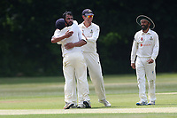 Z Shahzad of Wanstead celebrates taking the wicket of S Prabhakar during Wanstead and Snaresbrook CC vs Ilford CC, Shepherd Neame Essex League Cricket at Overton Drive on 17th June 2017 Z Shahzad of Wanstead celebrates taking the wicket of N Gabhawala during Wanstead and Snaresbrook CC vs Ilford CC, Shepherd Neame Essex League Cricket at Overton Drive on 17th June 2017