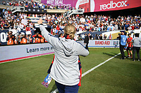 CHICAGO, IL - OCTOBER 06: Manager Jill Ellis of the United States celebrates during her last game as head coach versus Korea Republic at Soldier Field, on October 06, 2019 in Chicago, IL.