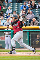 Guillermo Quiroz (6) of the Sacramento River Cats at bat against the Salt Lake Bees in Pacific Coast League action at Smith's Ballpark on April 17, 2015 in Salt Lake City, Utah.  (Stephen Smith/Four Seam Images)