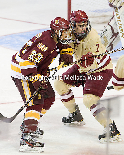 J.T. Brown (Duluth - 23), Isaac MacLeod (BC - 7) - The Boston College Eagles defeated the University of Minnesota Duluth Bulldogs 4-0 to win the NCAA Northeast Regional on Sunday, March 25, 2012, at the DCU Center in Worcester, Massachusetts.