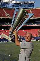 July 24, 2005: East Rutherford, NJ, USA:  USMNT goalkeeper Matt Reis (24) raises  the trophy after winning the CONCACAF Gold Cup at Giants Stadium by defeating Panama on penalty kicks.