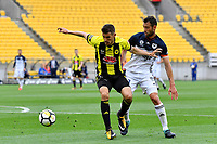 Wellington Phoenix&rsquo; Dario Vidosic and Melbourne Victory&rsquo;s Carl Valeri in action during the A League - Wellington Phoenix v Melbourne Victory FC at Westpac Stadium, Wellington, New Zealand on Sunday 3 December.<br /> Photo by Masanori Udagawa. <br /> www.photowellington.photoshelter.com