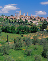 Tuscany, Italy:  San Gimignanao's towers and stone houses rise above nearby vineyards and olive groves