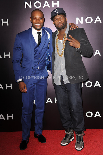 WWW.ACEPIXS.COM<br /> March 26, 2014 New York City<br /> <br /> Curtis &quot;50 Cent&quot; Jackson and Tyson Beckford attending the 'Noah' New York premiere at Ziegfeld Theatre on March 26, 2014 in New York City.<br /> <br /> Please byline: Kristin Callahan<br /> <br /> ACEPIXS.COM<br /> <br /> Tel: (212) 243 8787 or (646) 769 0430<br /> e-mail: info@acepixs.com<br /> web: http://www.acepixs.com