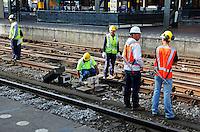 Werken aan het spoor. Centraal Station Amsterdam