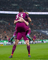 Manchester City Gabriel Jesus celebrating his goal with Kevin De Bruyne during the Premier League match between Tottenham Hotspur and Manchester City at Wembley Stadium, London, England on 14 April 2018. Photo by Andrew Aleksiejczuk / PRiME Media Images.
