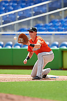Miami Marlins Sean Reynolds (47) waits to receive a throw during a Florida Instructional League game against the Washington Nationals on September 26, 2018 at the Marlins Park in Miami, Florida.  (Mike Janes/Four Seam Images)
