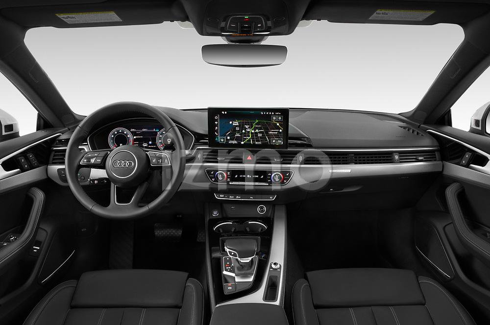 Stock photo of straight dashboard view of 2020 Audi A5-Sportback Premium-plus 5 Door Hatchback Dashboard