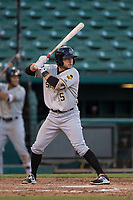 Salt Lake Bees shortstop David Fletcher (15) at bat during a Pacific Coast League game against the Fresno Grizzlies at Chukchansi Park on May 14, 2018 in Fresno, California. Fresno defeated Salt Lake 4-3. (Zachary Lucy/Four Seam Images)