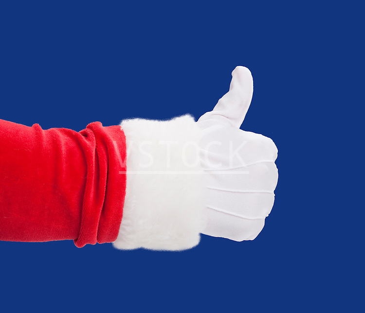USA, Illinois, Metamora, Studio shot of Santa's hand with thumbs up against blue background