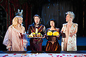 London, UK. 05.12.2013. BEAUTY AND THE BEAST, starring Mat Fraser and Julie Atlas Muz, based on their real life experience of meeting and falling in love, opens at the Young Vic. Directed by Phelim McDermott, with lighting design by Colin Grenfell, costumes by Kevin Pollard and set by Philip Eddols.  Picture shows: L to r Julie Atlas Muz (Beauty), Jonny Dixon (puppeteer/slave), Jess Mabel Jones (Puppeteer Slave), Mat Fraser (Beast). Photograph © Jane Hobson.