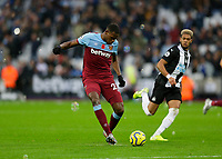 2nd November 2019; London Stadium, London, England; English Premier League Football, West Ham United versus Newcastle United; Issa Diop of West Ham United - Strictly Editorial Use Only. No use with unauthorized audio, video, data, fixture lists, club/league logos or 'live' services. Online in-match use limited to 120 images, no video emulation. No use in betting, games or single club/league/player publications