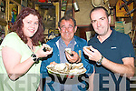 TASTING: Tasting the oyster at the Ballylongford Oyster Festival on Friday night. Frank Fitzell, Felicity Sheils and JP Mulvihill.(Tarbert)......