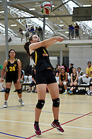 Action from the Volleyball - Senior Tournament at ASB Sports Centre, Kilbirnie, New Zealand on Saturday 7 March 2015. <br /> Photo by Masanori Udagawa. <br /> www.photowellington.photoshelter.com.