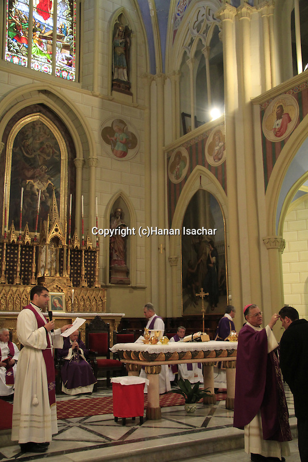 Israel, Mass with the Ashes in the Co-Cathedral at the Latin Patriarchate celebrated by the Patriarch of Jerusalem, H.B. Fuad Twal