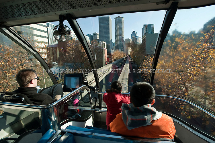 11/12/2009--Seattle, WA, USA..The Seattle Monorail bullet in 1962 connects The Seattle Center with downtown Seattle...The larger theaters in Seattle are located either downtown or in the Seattle Center campus, connected by the city's monorail...©2009 Stuart Isett. All rights reserved.