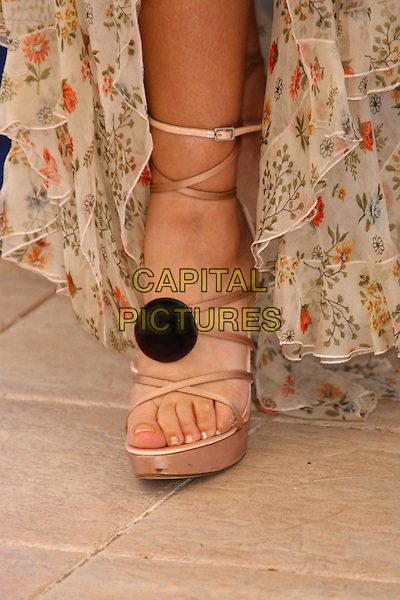 MONICA BELLUCCI.The Matrix: Reloaded Photocall.Cannes Film Festival 2003.www.capitalpictures.com.sales@capitalpictures.com.©Capital Pictures.roman sandals, heels, toes, feet, foot