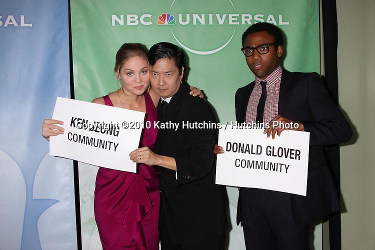 Erika Christensen, Ken Jeong, & Donald Glover.arriving at the 2010 Winter NBC TCA Party .Langford Hotel.Pasadena, CA.January 10, 2010.©2010 Kathy Hutchins / Hutchins Photo....