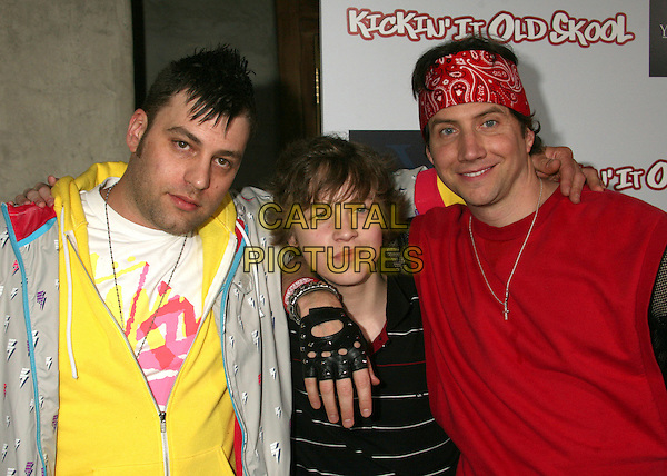 """HARVEY GLAZER (DIRECTOR), ALEXANDER CALVERT & JAMIE KENNEDY .""""Kickin' It Old Skool"""" Los Angeles Premiere Party at the Music Box Theatre, Hollywood, California, USA..April 25th, 2007.full length red bandana fingerless leather black gloves yellow arm over shoulder .CAP/ADM/BP.©Byron Purvis/AdMedia/Capital Pictures"""