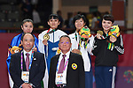 (L-R) Bakhriniso Babaeva (UZB), Gu Shiaushuang (TPE),  Miho Miyahara (JPN), Paweena Raksachart (THA), <br /> AUGUST 27, 2018 - Karate : Women's Kumite -50kg Victory ceremony at Jakarta Convention Center Plenary Hall during the 2018 Jakarta Palembang Asian Games in Jakarta, Indonesia. <br /> (Photo by MATSUO.K/AFLO SPORT)