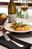 Butter Poached Caribbean Lobster Tail: lemon-parmesan polenta, champagne-tempura haricot vert, saffron-garlic compound butter<br /> Waterfront Bistro .Cruz Bay, St. John.U.S. Virgin Islands