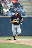 Jeremy West of the Arizona State Sun Devils runs to first base during a game against the Cal State Fullerton Titans at Goodwin Field on June 6, 2003 in Fullerton, California. (Larry Goren/Four Seam Images)