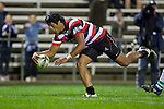 Ahsee Tuala dives over to to score the Steelers third try. ITM Cup rugby game between Counties Manukau and Manawatu played at Bayer Growers Stadium on Saturday August 21st 2010..Counties Manukau won 35 - 14 after leading 14 - 7 at halftime.