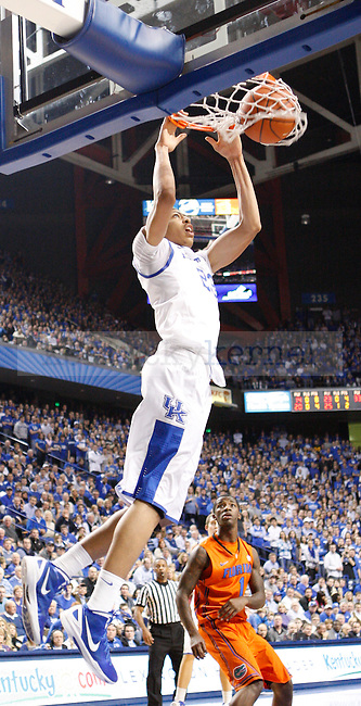 UK forward Anthony Davis dunks the ball during the first half of the University of Kentucky Men's basketball game against University of Florida on 2/7/12 in Lexington, Ky. Photo by Quianna Lige | Staff