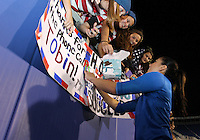 BOCA RATON, FL - DECEMBER 15, 2012: Hope Solo (1) of the USA WNT signs autographs at the end of an international friendly match against China  at FAU Stadium, in Boca Raton, Florida, on Saturday, December 15, 2012. USA won 4-1.