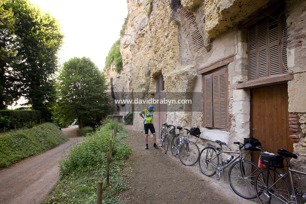 Writer David Darlington, participant in a Backroads cycle tour of the Loire Valley, prepares before setting off from the hotel Le Choiseul in Amboise, France, 26 June 2008, for day 2 of the tour.