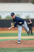 Georgia Tech Yellow Jackets starting pitcher Jay Shadday (36) delivers a pitch to the plate against the Wake Forest Demon Deacons at David F. Couch Ballpark on March 26, 2017 in  Winston-Salem, North Carolina.  The Demon Deacons defeated the Yellow Jackets 8-4.  (Brian Westerholt/Four Seam Images)