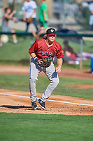 Rhett Aplin (21) of the Idaho Falls Chukars on defense against the Ogden Raptors at Lindquist Field on August 9, 2019 in Ogden, Utah. The Raptors defeated the Chukars 8-3. (Stephen Smith/Four Seam Images)