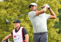 26th July 2020, Blaine, MN, USA;  Tony Finau Tess off on hole number one as his caddy  Boyd Summerhays looks on during the final round of the 3M Open golf tournament at TPC Twin Cities in Blaine, Minnesota