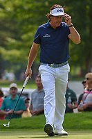 Phil Mickelson (USA) sinks his par putt on 14 during 2nd round of the World Golf Championships - Bridgestone Invitational, at the Firestone Country Club, Akron, Ohio. 8/3/2018.<br /> Picture: Golffile | Ken Murray<br /> <br /> <br /> All photo usage must carry mandatory copyright credit (© Golffile | Ken Murray)