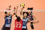 Middle blocker Nana Iwasaka of Japan (L) and Wing spiker Yurie Nabeya of Japan (R) blocks during the FIVB Volleyball World Grand Prix match between Japan vs Russia on 23 July 2017 in Hong Kong, China. Photo by Marcio Rodrigo Machado / Power Sport Images