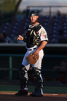 Zach Wright  #5 of the Inland Empire 66ers wears a Zombie Apocalypse Night jersey during a game against the Visalia Rawhide at San Manuel Stadium on June 12, 2014 in San Bernardino, California. Inland Empire defeated Visalia, 4-2. (Larry Goren/Four Seam Images)