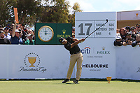 C.T. Pan (International) on the 17th tee during the First Round - Four Ball of the Presidents Cup 2019, Royal Melbourne Golf Club, Melbourne, Victoria, Australia. 12/12/2019.<br /> Picture Thos Caffrey / Golffile.ie<br /> <br /> All photo usage must carry mandatory copyright credit (© Golffile | Thos Caffrey)