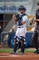 Charlotte Stone Crabs catcher Zacrey Law (6) during a Florida State League game against the Palm Beach Cardinals on April 14, 2019 at Charlotte Sports Park in Port Charlotte, Florida.  Palm Beach defeated Charlotte 5-3.  (Mike Janes/Four Seam Images)