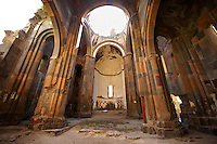 Interior The cathedral of Ani, Also known as Surp Asdvadzadzin (church of the Holy Mother of God), its construction was started in the year 989, under King Smbat II.  The Gothic clustered arches & pointed arches pre date the European Gothic and are thought to be an influence for Western European Gothic. Ani archaelogical site on the Ancient Silk Road , Kars , Anatolia, Turkey