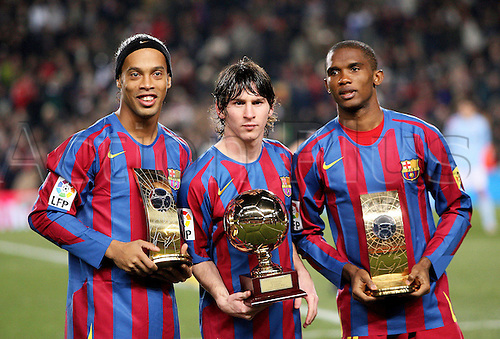 20.12.2005  Ronaldinho (Footballer of the year 2005), Lionel Messi (Best newcomer 2005), Samuel Eto' o (3.place World Footballer of the year 2005)