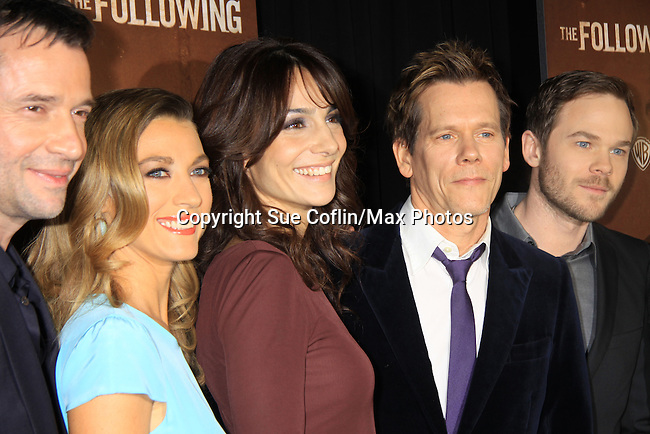 "Guiding Light's Kevin Bacon ""Tim Werner"" (Search For Tomorrow), As The World Turns' Annie Parisse ""Julia"" and Passions Natalie Zea ""Gwen Hotchkiss"", James Purefoy (L) and Shawn Ashmore (R) star in ""The Following"", Fox's new tv series on Mondays, which held its world premiere on January 19, 2013 at the New York Public Library, New York City, New York. (Photo by Sue Coflin/Max Photos)"
