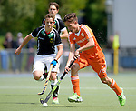 GER - Mannheim, Germany, May 16: During the whitsun tournament boys hockey match between Germany (black) and The Netherlands (orange) on May 16, 2016 at Mannheimer HC in Mannheim, Germany. Final score 4-3 (HT 2-0). (Photo by Dirk Markgraf / www.265-images.com) *** Local caption *** Bodie Berenos #19 of The Netherlands