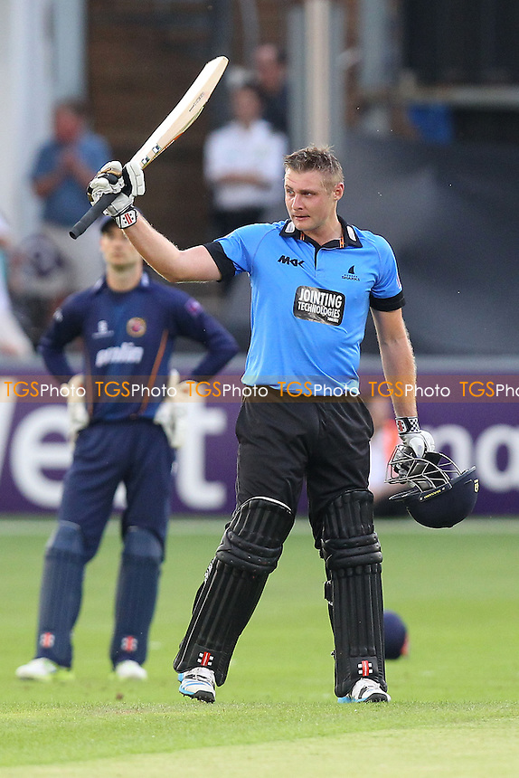 Luke Wright of Sussex celebrates reaching a150 runs for his team - Essex Eagles vs Sussex Sharks - NatWest T20 Blast Cricket at the Essex County Ground, Chelmsford, Essex - 25/07/14 - MANDATORY CREDIT: Gavin Ellis/TGSPHOTO - Self billing applies where appropriate - contact@tgsphoto.co.uk - NO UNPAID USE