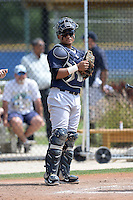 Catcher/First baseman Alvaro Noriega (19) of the New York Yankees organization during a minor league spring training game against the Toronto Blue Jays on March 16, 2014 at the Englebert Minor League Complex in Dunedin, Florida.  (Mike Janes/Four Seam Images)
