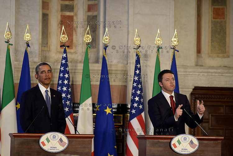 Roma, 27 Marzo 2014<br /> Incontro a Villa Madama tra il Presidente degli Stati Uniti d'America Barack Obama e il Presidente del Consiglio dei Ministri Matteo Renzi.<br /> Conferenza stampa al termine dei colloqui.<br /> Meeting at Villa Madama between the President of the United States of America Barack Obama and the President of the Council of Ministers, Matteo Renzi. <br /> Press Conference at the end of the talks.