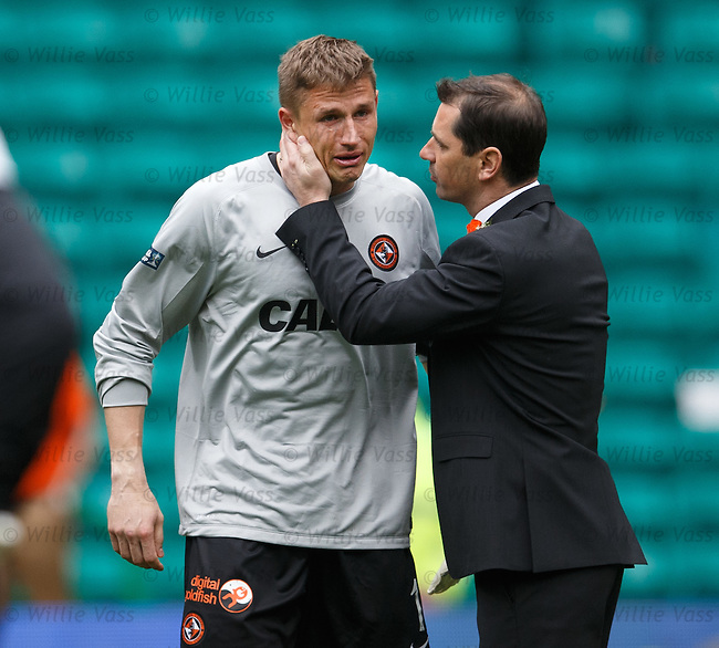 Tears from Dundee Utd keeper Radoslaw Cierzniak as he is consoled by manager Jackie McNamara