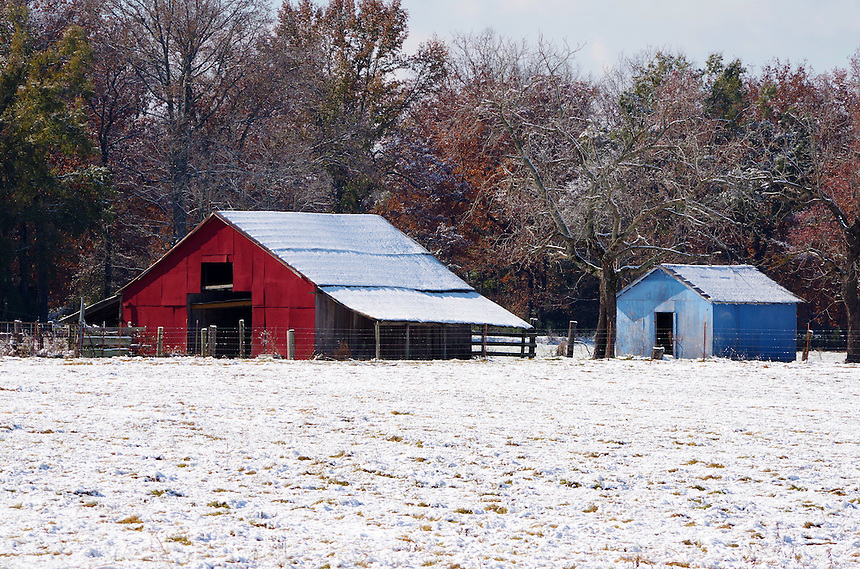 Snow scene with barns north of Morrilton, Arkansas