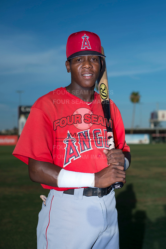 AZL Angels infielder Daniel Ozoria (23) poses for a photo before an Arizona League game against the AZL Padres 2 at Tempe Diablo Stadium on July 18, 2018 in Tempe, Arizona. The AZL Padres 2 defeated the AZL Angels 8-1. (Zachary Lucy/Four Seam Images)